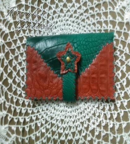 کیف پول طرح سبز و قرمز